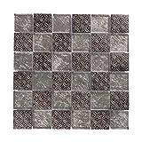 Mosaikfliesen Material-Mix 30 x 30cm 1 Stück I Vezzo Ceramica I Serie 21065, Silber/Schwarz