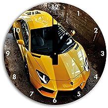 foto Lamborghini Aventador en el reloj de pared con negro blunt las manos y la cara, de 30 cm de diámetro, decoración perfecta para su hogar, idea regalo estupendo para jóvenes y mayores