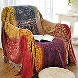 210 x 260 cm Chenille Jacquard Quasten Überwurf Decken für Bett Couch Dekorative weichen Stuhl - Colorful Tribal Muster, Large