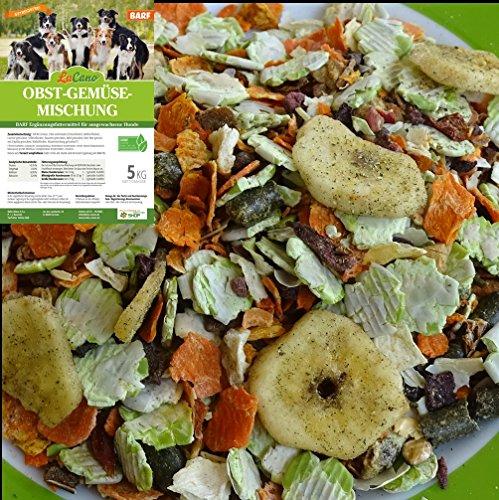 LuCano 5 kg Hunde Barf Ergänzungsfutter Obst + Gemüse Flocken mit Kräutern | glutenfrei - getreidefrei