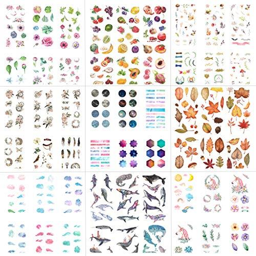 54 Blatt Scrapbooking Aufkleber in Verschiedene Muster Einhorn Deko Sticker Blumen Blätter Aufkleber für Tagebuch Scrapbook Kalender Notizbuch Fotoalbum DIY Dekoration