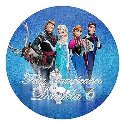 OBLEA de Papel de azúcar Personalizada, 19 cm, diseño de Disney Frozen Azul por Decoraciones Personalizadas