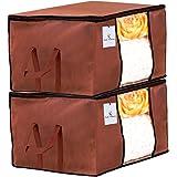Kuber Industries Underbed Storage Bag, Storage Organiser, Blanket Cover Set of 2 - Dark Brown, Extra Large Size…