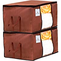 Kuber Industries Underbed Storage Bag, Storage Organiser, Blanket Cover Set of 2 - Dark Brown, Extra Large Size-CTKTC23870