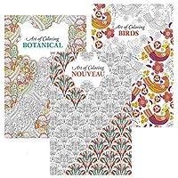 Bargain Gateway Set of 3 A4 Colour Therapy Adult Colouring Books, Botanical, Birds & Nouveau Designs, Set