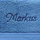 Handtuch mit Namen nach Wunsch bestickt, 50 x 100 cm, Fjord/Blau, Farbe Name Blau, Qualität von deutschen Herstellern,