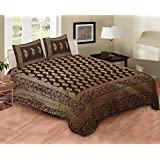 Story@Home Candy 200 TC Cotton Double Bed Sheet With 2 Pillow Covers - Gold Printing, King Size,