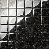 1qm Glasmosaik Fliesen 30cm x 30cm x 8mm Matte in Schwarz mit Glitzer (MT0088 m2)