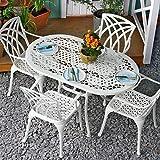Lazy Susan - ELISE 136 x 81 cm Ovaler Gartentisch mit 4 Stühlen - Gartenmöbel Set aus Metall, Weiß (APRIL Stühle, Beige Kissen)