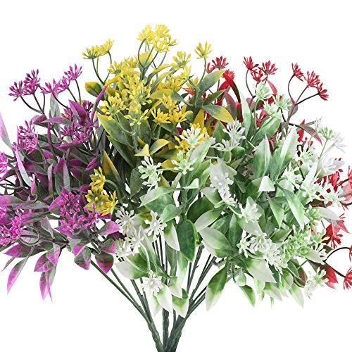 NAHUAA Kunstblumen, 4 Stück, künstliche Sträucher für den Außenbereich, Kunststoff, künstliche Pflanzen, Tischdekoration, für Hochzeit, Zuhause, Küche, Büro, Fensterbank, Sommer, Herbst