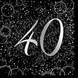 Unique Papierservietten mit Foliendruck für den 40. Geburtstag,silber,16er pack