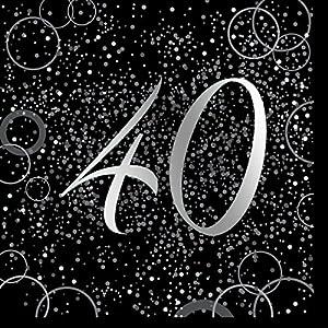 Unique Party- Paquete de 16 servilletas de papel de 40 cumpleaños, Color plateado metálico brillante (57481)