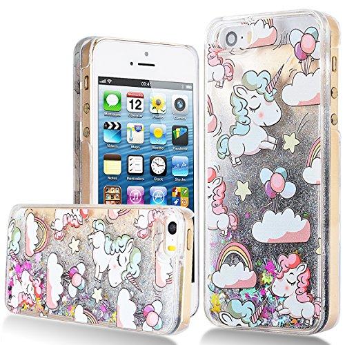iPhone-SE-Hlle-iPhone-5S-Liquid-Case-We-Love-Case-Schnen-Klar-Hart-Plastik-Tasche-Kristall-Handytasche-Bling-Treibsand-Flssig-Schwimmend-Glanz-Sparkle-Funkeln-Stern-Kreativ-Design-Wei-Einhorn-Muster-E