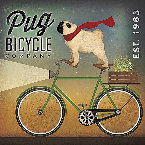 The Picture Peddler Inc. Mops auf A Bike von Ryan Fowler Vintage ads Tiere Hunde Haustiere Kunstdruck 12x 12Poster von Bild Hausierer (Bike Peddler)