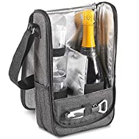 VonShef 2 Person Wine Carrier Bag in Premium Ash Grey - With 2 X Plastic Wine Glasses & Corkscrew Bottle Opener, Cooler Compartment Keeps Wine Chilled
