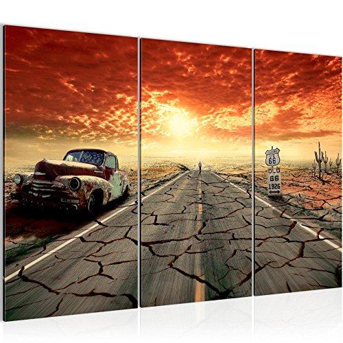 Photo Route 66 Décoration Murale 120 x 80 cm Toison - Toile Taille XXL Salon Appartement Décoration Photos d'art Orange 3 Parties - 100% MADE IN GERMANY - prêt à accrocher 600331a