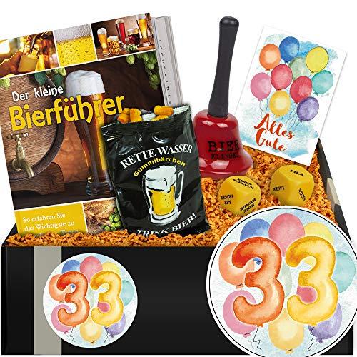 Zum 33. Jubiläum | Geschenkset Bierparty | Geschenke 33. Geburtstag für Mann