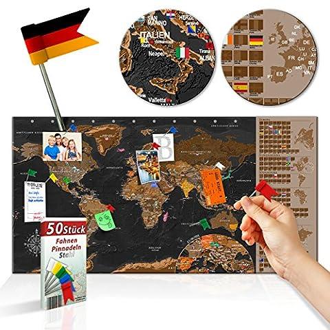 decomonkey   Rubbelweltkarte Pinnwand DEUTSCH   90x45 cm   Weltkarte zum Rubbeln mit Fahnen/ Nationalflaggen   Rubbelkarte   FULL HD   Rubbellack   Rubbelbild   Mehrfarbiger Rubbellack   Scratch Off World   Travel Map   Landkarte   inkl. 50 Markierfähnchen  