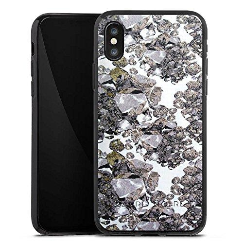 Apple iPhone X Silikon Hülle Case Schutzhülle Edelsteine Muster Steine Silikon Case schwarz