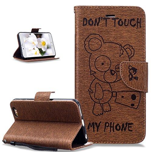 Coque iPhone 6S Plus,Coque iPhone 6 Plus,Coque iPhone 6S Plus / 6 Plus,ikasus® Coque iPhone 6S Plus / 6 Plus Bookstyle Étui Housse en Cuir Case, Motif Gaufrage Tronçonneuse ours Don't Touch Py Phone M Marron