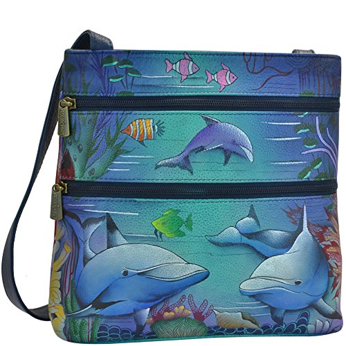 Anuschka Handtasche/Hobo handbemalt Luxus–447Leder Compact Umhängetasche Travel Organizer, Dolphin World (Mehrfarbig) - 447-DWD (Anuschka Hobo)