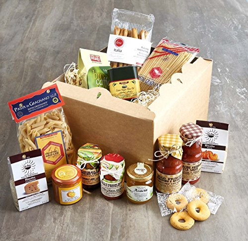 College Hamper Bitter orange marmalade (250g) Chocolate Filled Burano Biscuits (150g) Organic Acacia Honey (500g) Organic Fairtrade Arabica Coffee (250g) Rosemary 'Rubata' Bread Sticks (150g) Sun Dried Tomato Almond & Pistachio Pat� (180g) Bronze Die Cut