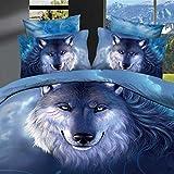 Alicemall Juego de Fundas Nordicas 4 Piezas Algodón con 1 Funda Edredon 1 Sábana Encimera y 2 Fundas de ALmohada para Camas 135cm Figura Lobo Azul