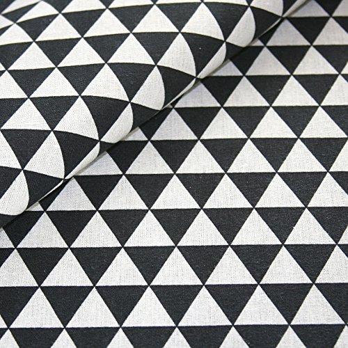 Canvas Geometrisch gemustert Baumwolle Stoff Meterware Dekostoff Bezugsstoff Dreieck Muster schwarz weiß (Stoff Geometrisches Muster)