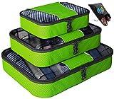 Bingonia - Lot de 3 boîtes de rangement pour voyage - 1 sac à chaussures inclus - garantie à vie - VENTE SPÉCIALE D'UNE SEMAINE (Vert)