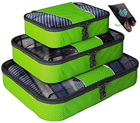 Packing Cubes - 4 pc Value Set Luggage Organizer + Bonus Shoe Bag Included - Lifetime Guarantee - By Bingonia Travel Accessories - Green