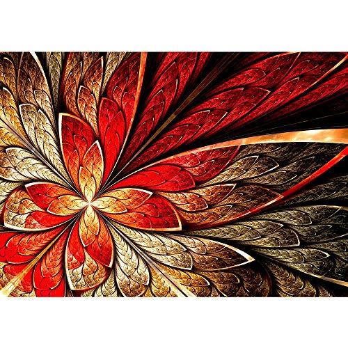 Vollständige Floralen Muster (Vlies Fototapete 400x280 cm PREMIUM PLUS Wand Foto Tapete Wand Bild Vliestapete - YELLOW AND RED FLORAL ORNAMENT - Ornament abstrakt 3D Wand Rot Gelb Hintergrund - no. 115)