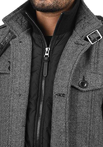 Indicode Brandan Herren Winter Mantel Wollmantel Lange Winterjacke mit Stehkragen, Größe:M, Farbe:Light Grey Mix (913) - 4