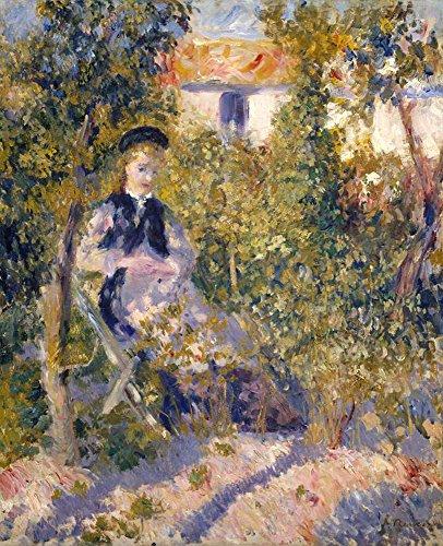 Pierre-Auguste Renoir - Nini Im Garten (Nini Lopez) Leinwandbilder Reproduktionen Gerollte 90X75cm - Menschen in der Landschaft Gemälde Komplett Texturiert 3D Gedruckt Wandkunst für Wohnzimmer