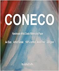 CONECO A4 Artist Grade Water Colour Paper,100% Cotton, 220 GSM, Neutral - 20 sheets
