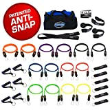 Bodylastics (Genuine) 31 pcs Resistance Bands Set *MEGA RESISTANCE with 14 Stackable anti-snap exercise tubes, Heavy Duty components, Large gym bag and printed instructions for the top muscle building exercises.