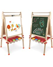 Arkmiido Wooden Art Double-Sided Whiteboard, Chalkboard Adjustable Standing Easel with Paper Roll Holder for Kids (Multicolour)