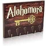 getDigital Alohomora Schlüsselbrett | Schlüsselleiste mit Zauberspruch aus der Welt von Harry Potter | Schlüsselboard mit 5 Schlüssel-Haken als fabelhafter Fanartikel