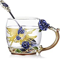evecase Enamels Butterfly Flower Lead-Free Glass Coffee Mugs Tea Cup with Steel Spoon Set, Personalised Gifts for Women…