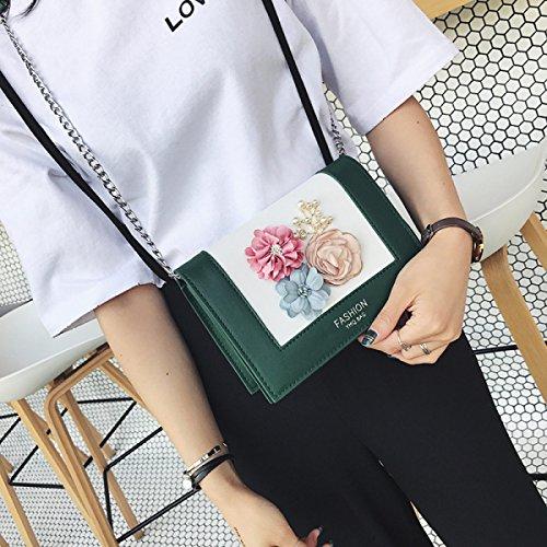 Art Und Weisedamen Schulterkurierbeutel PU-Blumenmuster Kleine Beutelkettenhandtaschenkreuzkörper-Minitasche Green