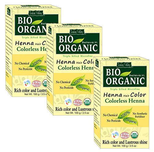 Indus Valley Bio Organic Microfine Triple Shifted Henna Hair Color Dye (Incolore) - Triple Pack (300 gm)