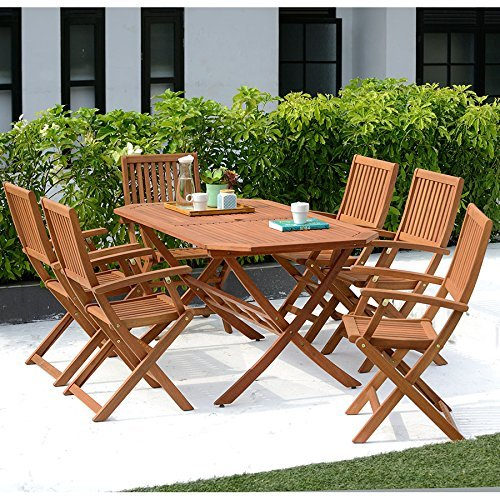Wooden Garden Furniture Set, 6 Seat Folding Patio Table & Chairs Ideal For Outdoor Living and Dining, Hardwood FSC Approved Eucalyptus Wood..