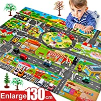 Syfinee Car Toys with Play Mat, Toy Trucks, Mini Pull Back Cars Playset, Toy Gift for Boys, Girls, Kids & Toddlers Children Play Mats House Traffic Road Signs Car Model Parking City Scene Map