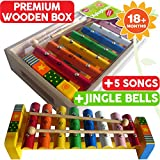Childrens Wooden Musical Instrument - Xylophone Glockenspiel - presented in wooden box and Song Sheets with 5 tunes, 18 months+