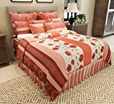 Home Candy Floral Cotton Double Bedsheet with 2 Pillow Covers - Red