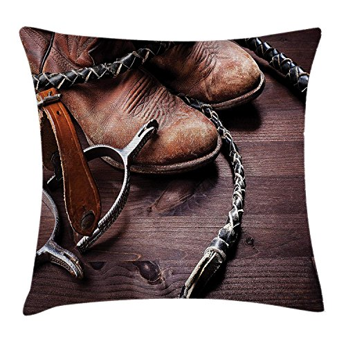 MLNHY Western Decor Throw Pillow Cushion Cover, Authentic Old Leather Boots and Spurs Rustic Rodeo Equipment USA Style Art Picture, Decorative Square Accent Pillow Case, 18 X 18 Inches, Brown