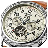Ingersoll Mens Automatic Watch with Beige Dial Analogue Display and Brown Leather Strap I02601