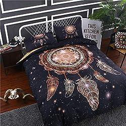MIJOGO Cama de edredón, 2/3 Piezas Galaxy colector del sueño Mandala Bohemia edredón del lecho de edredón de Microfibra Ligero (Galaxy-Negro),Twin