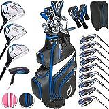 TecTake Set completo de golf 13 palos diestro acero grafito hierros driver putter sw pw + bolsa de transporte - varios modelos - (Para Hombre | No. 401486)