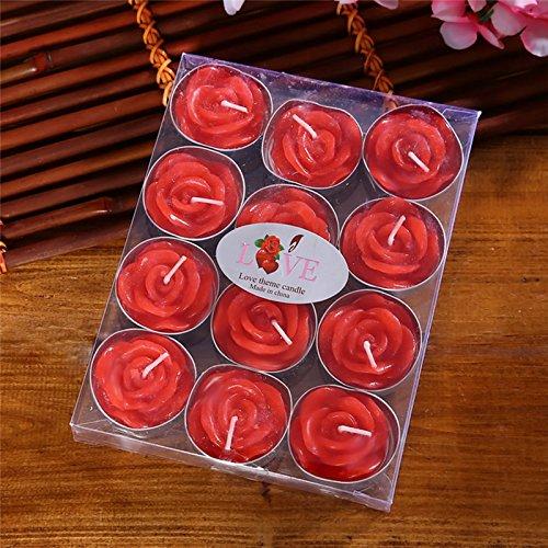 Mini candele, candele di rose, giorno di san valentino 12pcs boxed delicato rosa romantico matrimonio proposta candele per decorazione di nozze festa di compleanno