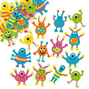 Baker Ross Monster Foam Stickers Children's Embellishments for Card Making Scrapbooking Collage Crafts - Pack of 100
